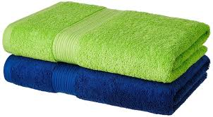 bath towels. Solimo 2 Piece 500 GSM Cotton Bath Towel Set - Iris Blue And Spring Green: Amazon.in: Home \u0026 Kitchen Towels