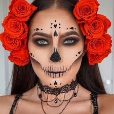 pretty sugar skull makeup idea for