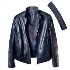 men s biker jacket in blue leather