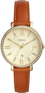 women s fossil jacqueline crystallzied brown leather watch es4293 loading zoom