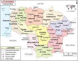 ليتوانيا الخريطة السياسية - خريطة ليتوانيا السياسية (شمال أوروبا - أوروبا)