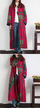 Long Frog Design O Newe Vintage Women Flower Printed Chinese Frog Long Coat