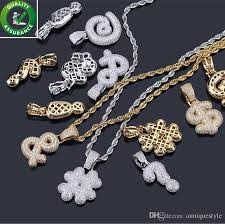 whole hip hop designer jewelry mens gold chain pendants diamond necklace iced out cz symbol pendant bling luxury pandora style charms rapper rock small