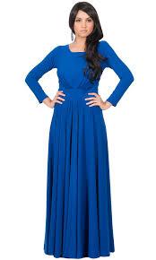 Long Sleeve Cobalt Blue Maxi Dress