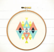 Modern Cross Stitch Patterns Fascinating Modern Geometric Cross Stitch Pattern PDF Play With Triangles