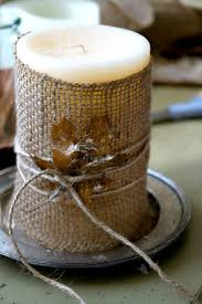 Burlap-Wrapped Candle.