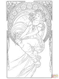 Small Picture Alphonse Mucha Line Art Painting by balphonse muchab coloring