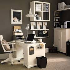 Classic White Desk and Swivel Chair facing White Cabinet inside Old  Fashioned Office Decorating Ideas