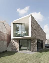 Architecture:Flat Roof And Cool Stone Wall Idea With Nice Two Stories Floor  Ideas Inspiring