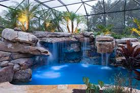 inground pools with waterfalls. Massive Natural Stone Grotto Waterfall And Spa Inground Pools With Waterfalls