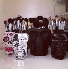 makeup brush storage ideas gl conner home accessory skull make up silver makeup brushes diamond brush holder with lid bellaposhorganizers