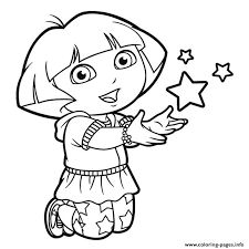 Dora Stars Happy Coloring Pages Printable