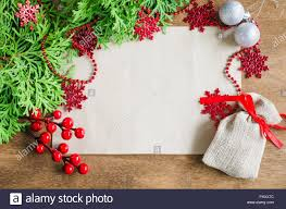 Blank Christmas Background Christmas Background With Xmas Decoration Blank Postcard On Wooden