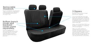 fh group black faux leather bench seat cover accommodate left and right 40 60 split 40 20 40 split and 50 50 split com