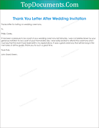 Thank You Letter For Wedding Invitation Top Docx