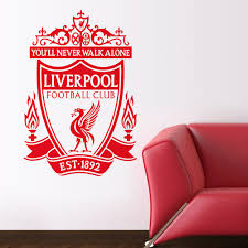 Liverpool Fc Bedroom Accessories Large Liverpool Fc Badge Lfc Logo Wall Art Sticker Pvc Decal Home