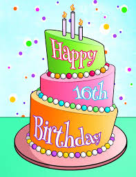 Happy 16th Birthday Birthday Cake Themed Notebook Journal Diary