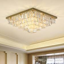 dimmable postmodern led rectangle crystal chandeliers high end k9 crystals ceiling chandelier lightings for hotel villa living room bedroom led ceiling