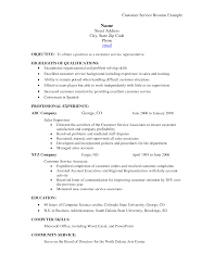 Resume Objective Samples For Customer Service Sample Resumes