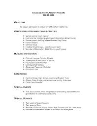 Scholarship Resume Template Application Rotc Sample Objective Google