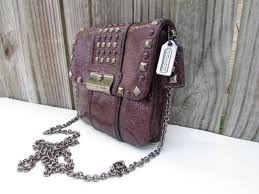 Coach Kristin Studded Metallic Purple Leather Crossbody Shoulder Bag No.  44043