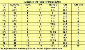 Uk Shoes Size Chart In India Buy Punjabi For Women Online Khalsastore Com