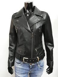 women genuine leather biker jacket belted slim fit black