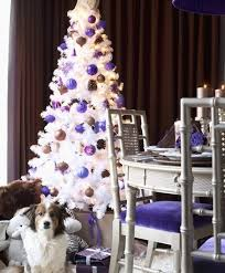 white-christmas-purple-blue-tree -decorated-non-traditional-unique-theme-fun-funky-ornament-holiday-frugal-small-girls-teen-livingroom-decoration-