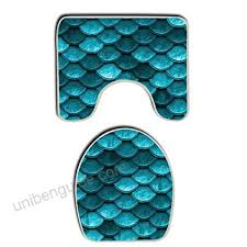 sweet tang memory foam 2 piece bathroom rug set beautiful marine blue teal mermaid fish scales