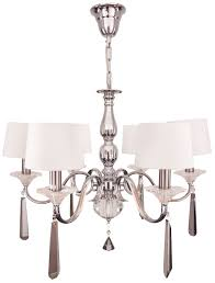 6 arm nickel and black crystal chandelier