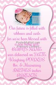 Announcement For Baby Girl Pink Chevron Baby Girl Announcement Invitation Easter Flyer Template