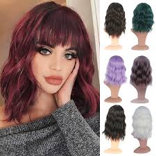 short wavy curly hair bob wigs with