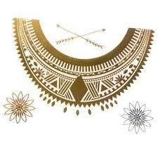 Zlatavá Tetování Náhrdelník Egypt Giil