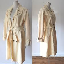 Utex Design Long Coat Classic Trench Coat Butter Yellow Vintage 90s Trench