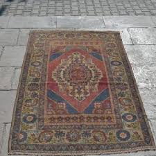red and blue rug wool rugs vintage blue rug quality oushak ru