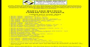 Maryland Metric Thread Chart Pdf Maryland Metrics Thread Data Charts Pdf Document