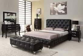 Modern Bedroom with Black Leatherette Bedroom Furniture Set Black