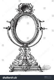 vintage mirror drawing. Old Mirror / Vintage Illustration From Meyers Konversations-Lexikon 1897 Drawing T