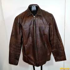 details about m julian wilsons leather biker jacket mens size xl brown zippered insulated