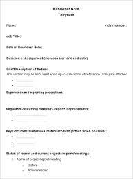 Handover Report Templates Word Excel Pdf Formats