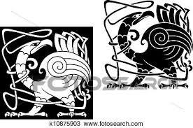 怒る 鳥 中に ケルト族 様式 クリップアート切り張りイラスト絵画集