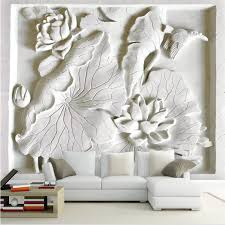 whole 3d wallpaper mural art decor picture backdrop modern living room with white embossed lotus hotel restaurant painting mural panel uk 2019 from