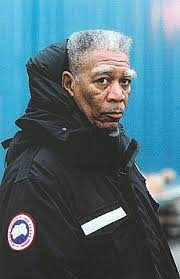 Morgan Freeman knows how to keep warm in his Canada Goose Coat