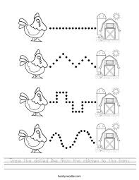 Click in the areas where you want to erase/break the line. Trace The Dotted Line From The Chicken To The Barn Worksheet Twisty Noodle