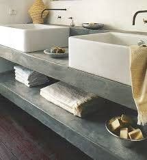 bathroom cement countertop and shelf