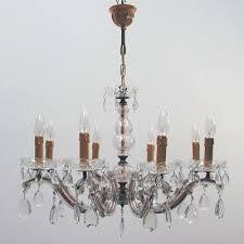 italian brass and crystal 8 light chandelier 1950s 1