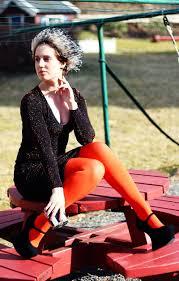 Bright Define Iben Bergstram In Bright Orange Tights And Black Dress Style