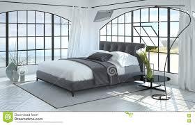 Raum 3d übertragen Vom Schlafzimmer Mit Gewölbten Fenstern Stockbild