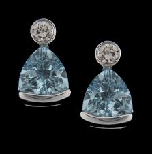trillion cut aquamarine 5x5 and diamond 0 06ctw earrings in 14k white
