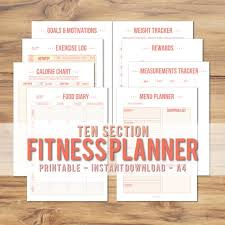 Exercise Calorie Chart Pdf Printable A4 Fitness Planner Pink Peach Minimalist Diet Exercise Weight Loss Tracker Health And Fitness Goal Instant Download Pdf